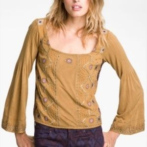 Free People Beaded Mustard Long Sleeve Top